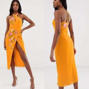 ASOS Tall midi pencil dress with ring deta…